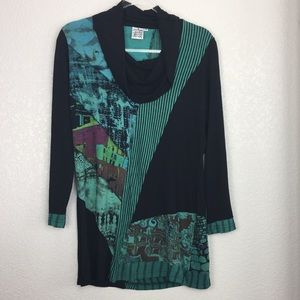 Parsley & Sage Black Tunic Cowl Top artsy M